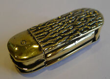 Unusual Antique English Brass Vesta Case - Penknife / Pocket Knife c.1890