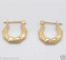 Polished Filigree Hoop Earrings 14K Yellow Gold