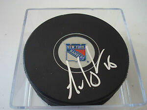 Arron Asham Signed NY New York Rangers Hockey Puck Autographed a