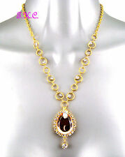 22k Gold Plt Bling Copper Faceted Mirror Teardrop Necklace W/ Swarovski Crystals