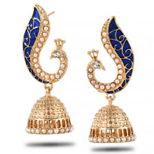 Retro Indian Peacock Blue Drop Earring Gypsy Bohemia Pearl Earring Charm Jewelry