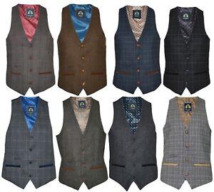Mens Marc Darcy Tweed Check Vintage Peaky Blinders Slim Fit Waistcoat