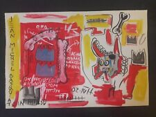 JEAN- MICHEL BASQUIAT       WATERCOLOR DRAWING SIGNED ON VINTAGE PAPER..