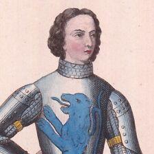 Portrait Jean Chastelain de Therote Terote Chevalier Armure XIVe Armoiries