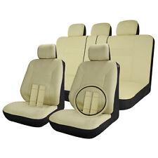 Car Seat Covers Full Set Solid Beige / Tan 17pc w/Steering Wheel-Belt-Head Rest
