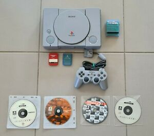 Sony PlayStation 1 PS1 Grey Console (SCPH-7002) With 4 Games & Controller + More