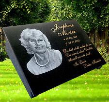 Grabstein Grabmal Grabplatte Granit mit Stütze, Fotogravur und Text, 30x20 cm