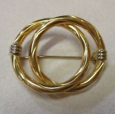 Gold Double Circle Pin Brooch New listing