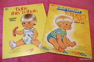 70's Whitman (Baby Brother Tender Love & This n That) PAPER DOLL BOOKS UNCUT Exc