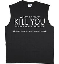 Men's Sleeveless Muscle Tee Shirt Tank Top Bear Attacks Funny Saying