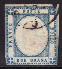 (ANTICHI STATI) FRANCOBOLLO PROV. NAPOLETANE 1861 2 GR. AZZURRO USATO