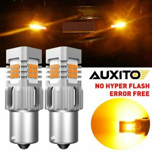AUXITO Amber BA15S 1156 7506 LED Turn Signal Light No Hyper Flash CANBUS Bulb A6