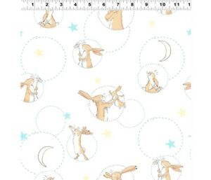 Clothworks - GUESS HOW MUCH I LOVE YOU HARES IN CIRCLES 100% cotton Fabric