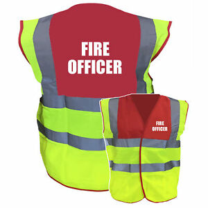 Fire Officer Red / Yellow Two ToneHi Vis Safety Vest / WaistcoatTabard Pre ...