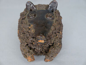 """Unusual Antique  """"Coleslaw"""" Decorated Redware Pottery Bear Upper Torso  As Found"""