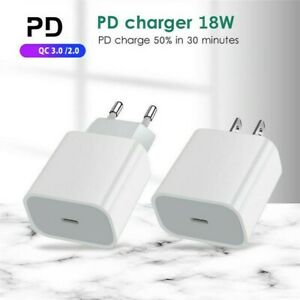 For Apple iPhone USB Type C Fast Wall Charger PD 18W Quick Charge Power Adapter