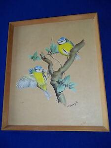 Vintage Original Martin Rumary Wildlife UK artist  2 Yellow Birds  Drawing