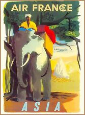 Southeast Asia By Airplane India Vintage Airlines Travel Advertisement Poster