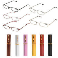 Metal New Reading Glasses Spring Hinges with Tube Case +1.0 ~ +4.0 Strength