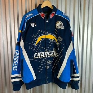 Rare San Diego Chargers NFL Navy Blue Scoreboard Full-Button Twill Jacket Large