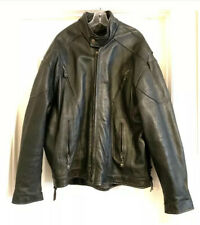 Rockys Great Outdoors Mens Motorcycle Biker Black Leather Coat Jacket Lined 56