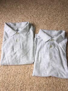 Faded Glory Boys Uniform Polo Shirts Lot of 2, Large 10-12 Gray Short Sleeve