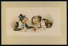 Dressed Monkey at coffee shop humor fantasy original 1900s color litho postcard