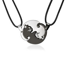 2pcs Stainless Steel Black White Ying Yang Cat Puzzle Pendant Couple Necklace~~