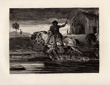 "Detailed Alexandre-Gabriel DECAMPS 1800s Etching ""The Work Horses"" SIGNED COA"
