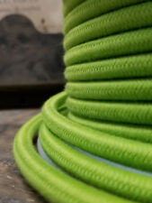 Lime Green Cloth Covered Round Power Cord, 3-Wire, Cotton Fabric, Vintage Lighs