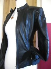 Ladies NEXT black real leather JACKET COAT size UK 16 14 biker bomber aviator