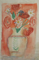 1959 Watercolor painting expressionist still life with flowers signed