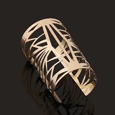 Wide Bracelet Bangle Wristband Jewelry Vintage Gold Plated Hollow Geometric Cuff