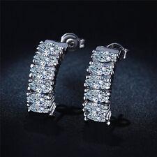 New Fashion Jewelry 925 Silver Plated Dangle Hoop Earring Elegant Ear Stud Women