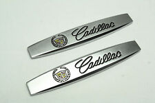 2Pcs For Cadillac Metal Vip Auto Front Side Fender Silvery Sticker Badge Emblems