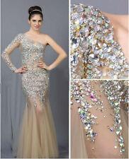 De Lujo Cristal Sirena Formal Noche Vestido Celebrity Pageant Fiesta Baile de graduación Vestido