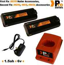 2 x ProSeries Batteries/Charger Set for Paslode 6v 1.5ah