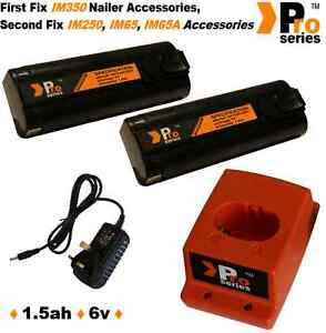 2 x NI-MH Batteries/Charger Set for Paslode IM350 6v 1.5V