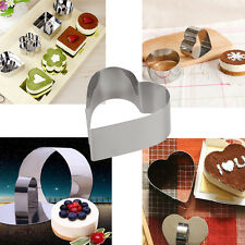 5X Round Square Heart Stainless Mousse Cake Ring Mold Cupcake Mould DIY Baking