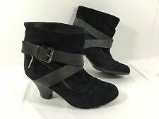 Women's Latitude Femme harnes Belted ankle boots Black suede leather Sz 36 US 6