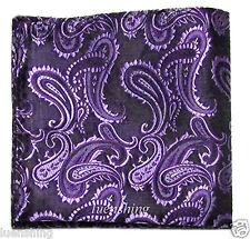 New Brand Q Men's  micro fiber Pocket Square Hankie Only paisley Purple prom