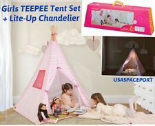 Kids Our Generation Pink+White TEEPEE Tent+Lite-Up Chandelier String STAR LIGHTS