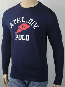 Polo Ralph Lauren Blue Athletic Crew Neck Classic Long Sleeve Tee T-Shirt NWT