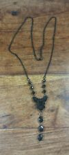 BLACK BEADS BLACK CHAIN COSTUME NECKLACE