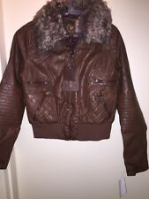 DOLLHOUSE Juniors' Faux-Fur Bomber Jacket COGNAC BROWN Size M NEW Tags Fall