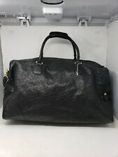 "Extra Large Black Ostrich Leather 24"" Overnight bag Many Pockets Split Zipper"