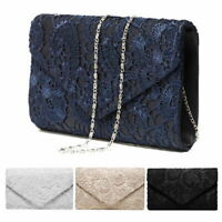 Fashion Women Lace Floral Evening Clutch Envelope Bag Wedding Bridal Chain Bags