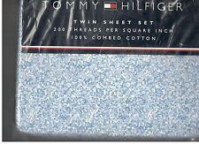 Tommy Hilfiger Petite Floral Twin Sheet Set White Blue Stripe New 3 Pieces