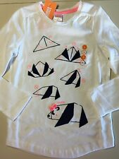 NWT Gymboree Girls Polar Pink Long Sleeve White Origami Panda Tee Top Shirt 6