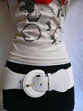 Women Belt Fashion Hip High Waist Elastic Fabric Waistband White Wide Size S M